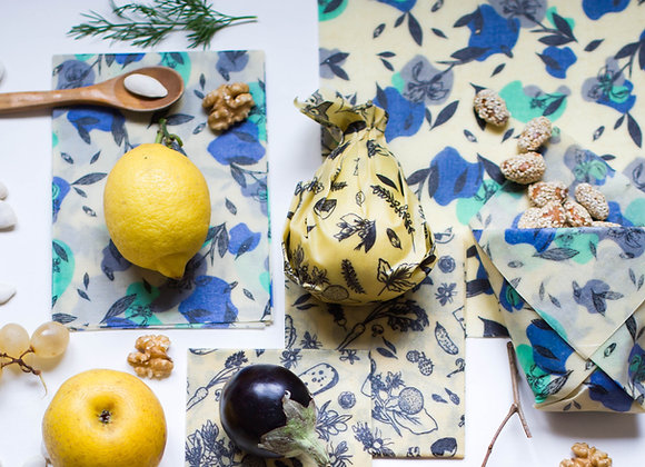Beeswax food wrap blue flower