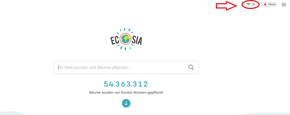 Ecosia Suchmaske