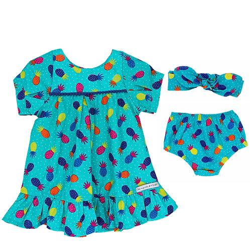 Conjunto Vestido Bata 2 em 1 - Abacaxi Colorido