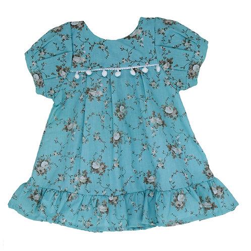 Vestido Bata 2 em 1 - Floral Azul