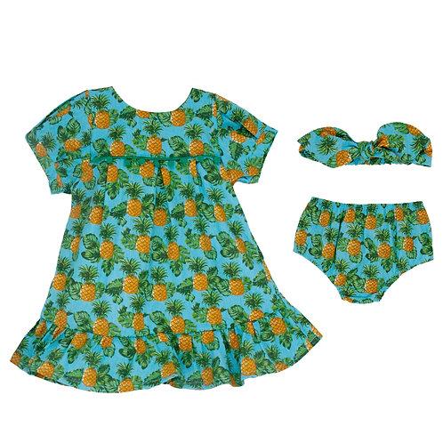 Conjunto Vestido Bata 2 em 1 - Abacaxi Tropical