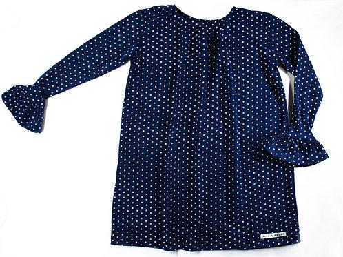 Vestido Manga Longa -Poá Azul