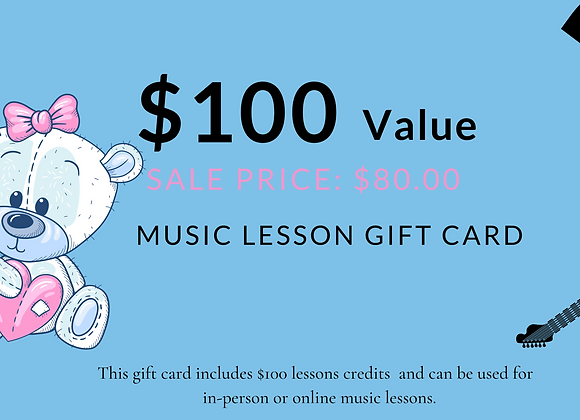 $100 Music Lesson Gift Cards