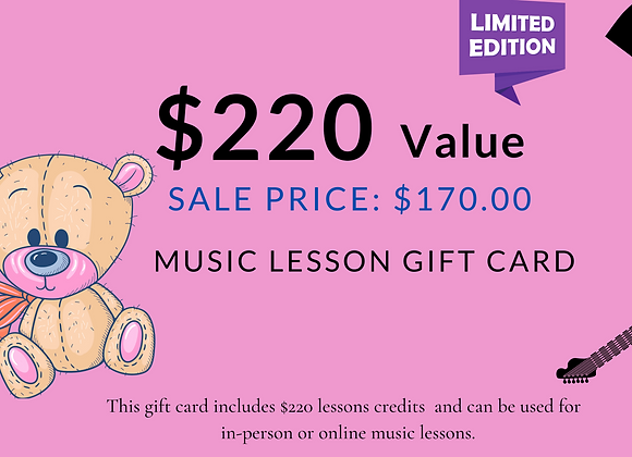 $220 Music Lesson Gift Cards