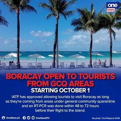 Boracay Opens October 1