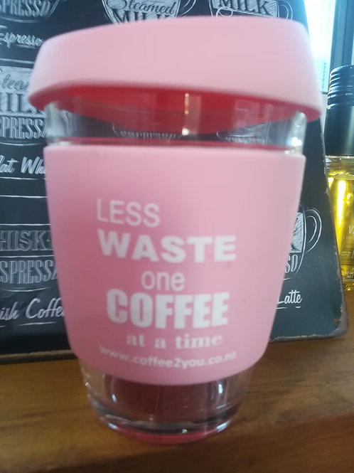 Pink reusable coffee cup