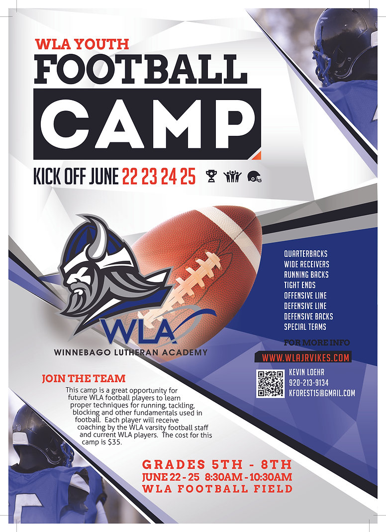 Youth Football Camp Poster correct name.
