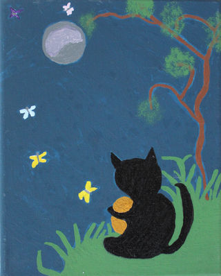 Cat and Butterflies In The Moonlight