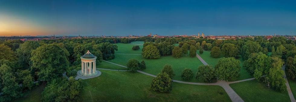 Munich skyline, view from Monopteros tem