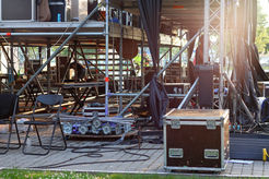Stage equipment on outdoor stage before