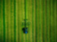 aerial-view-of-tractor-mowing-green-fiel
