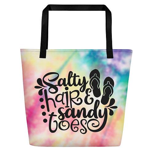 Salty Hair and Sandy Toes - Tie Dye Beach Bag