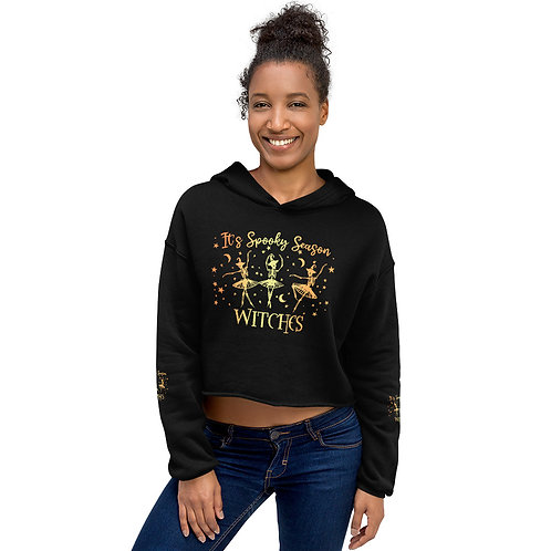 It's Spooky Season Ballet Witches - Crop Hoodie