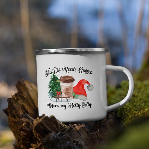 This Elf Needs Coffee - Enamel Mug
