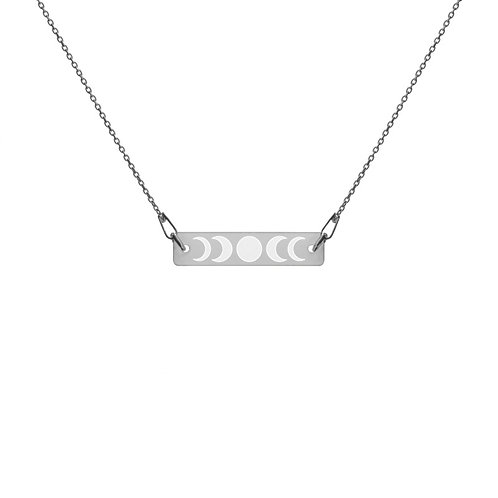 Moon Phases Engraved Bar Chain Necklace