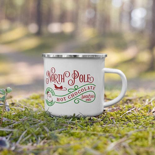 North Pole Santa Approved Hot Coco Christmas Enamel Mug