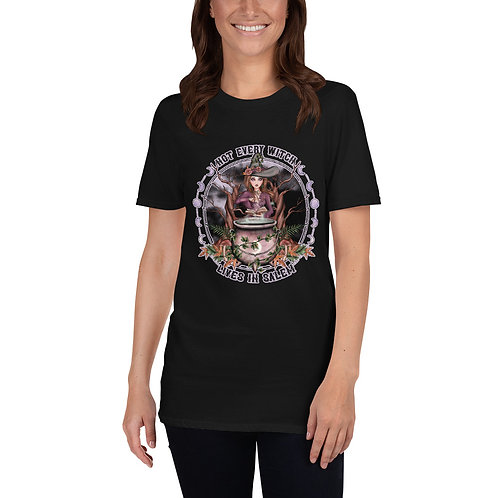Not Every Witch Lives in Salem - Brunette Vanilla Short-Sleeve Unisex T-Shirt
