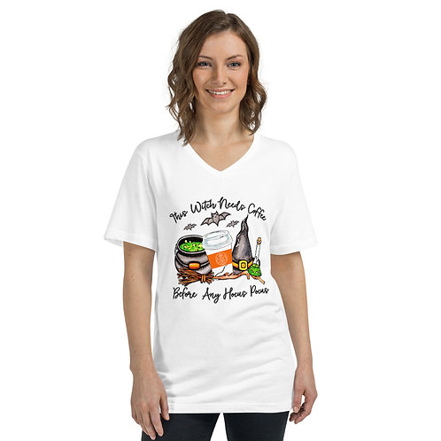 This Witch Need Coffee - Unisex Short Sleeve V-Neck T-Shirt