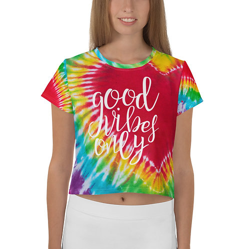 Good Vibes Only - Tie Dye womens Crop Tee