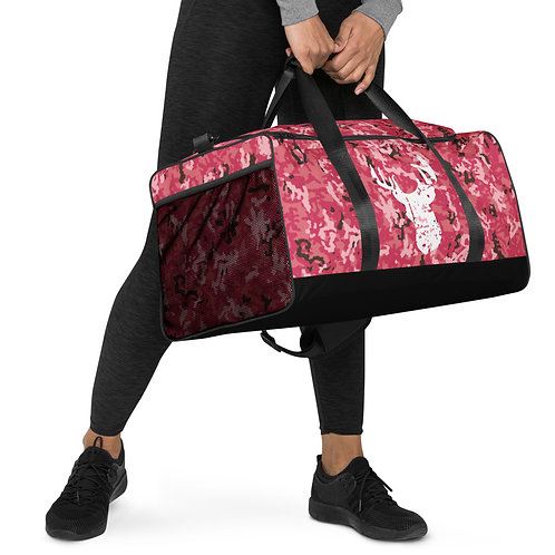 Coral Pink Deer Grunge Camo - Duffle bag one of a kind