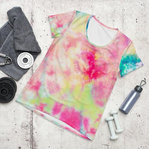 Heart Pastel Tie Dye - Women's Athletic T-shirt
