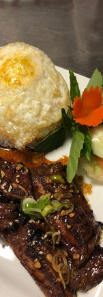 Short Rib over white rice with fried egg