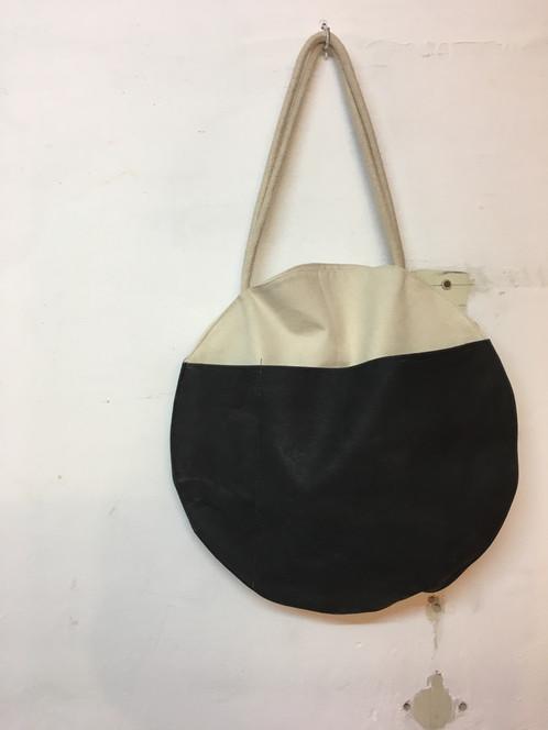 97300295f Canvas circle tote cotton rope straps. Internal big pocket division.  External