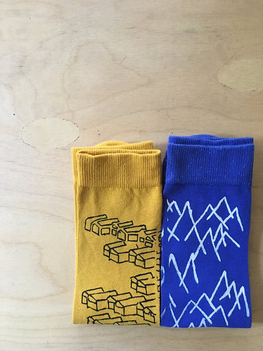 Childhood view, Houses and Mountains | the Jerusalem printed socks Series | DUO