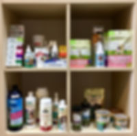 Shampoo, Conditioner, Ear Wipes, Brushes, COmbs, Nail Trimmes, Nail Grinders, Tooth Brushes, Toothpaste, Probiotics, Joint Care, Vitamins
