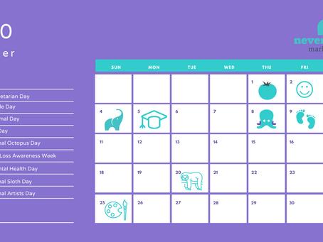 October social media calendar