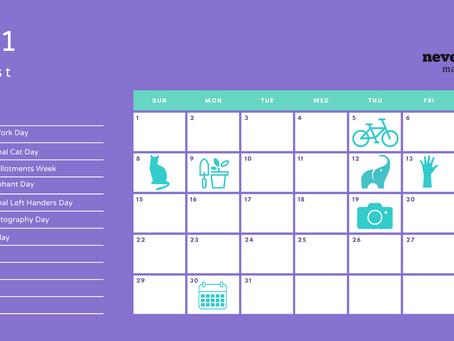 August 2021 social media calendar