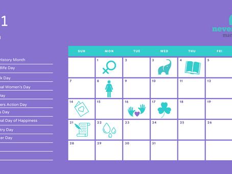 March social media calendar