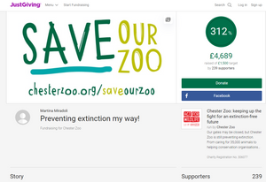 A screenshot of the fundriaising page on JustGiving website