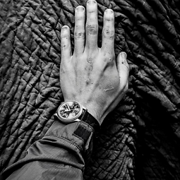Image of a human hand on an elephants skin, linking to crisis communications page