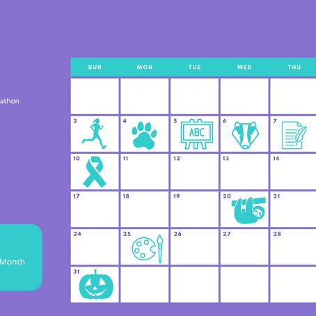 October 2021 social media calendar