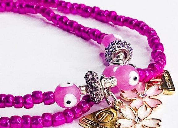 Anklet - Metallic Pink
