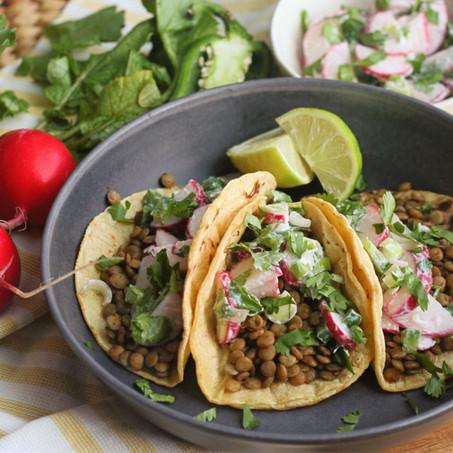 Lentil Tacos with Creamy Radish Slaw