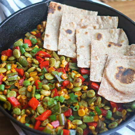 Veggie Succotash & Whole Wheat Flatbread