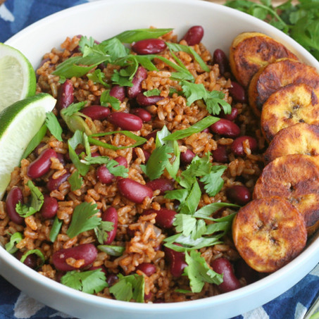 Caribbean Spiced Beans & Rice with Fried Plantains