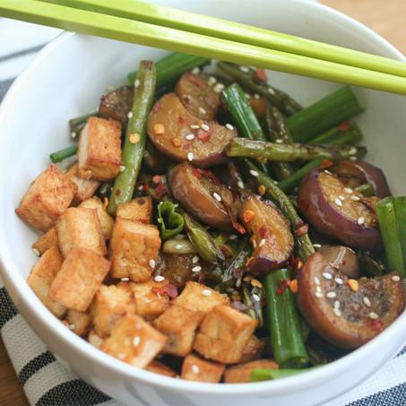 Chinese Eggplant & Green beans with Crispy Tofu