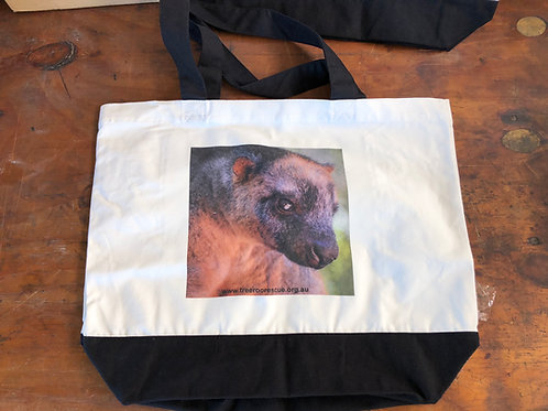 Large cotton two tone deluxe tote bag with Billy
