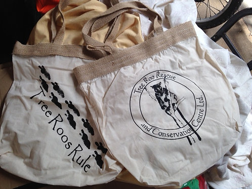 Canvas shopping bags, logo and footprints