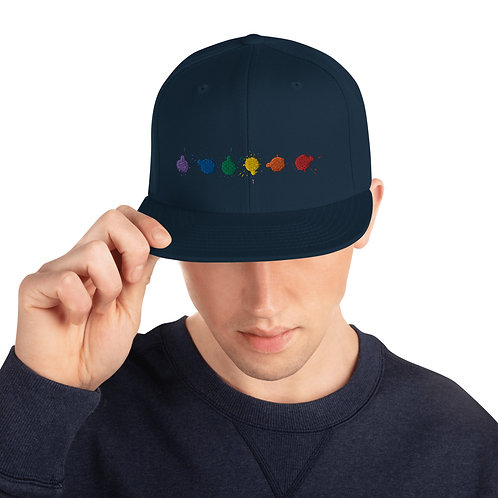 Rainbow Paint Drops Snapback Hat