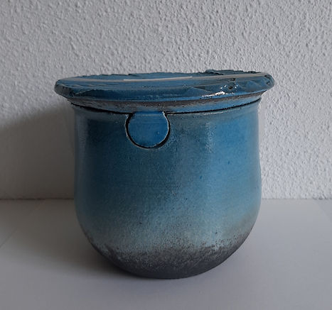 urn blauw deksel uniek handegemaakt.jpg
