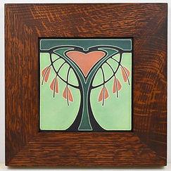 Motawi Bleeding Heart Tile in Mitered Oak Frame