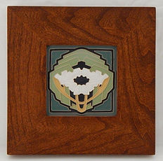 Arts and Crafts Tile Poppy in Mitered Cherry Frame