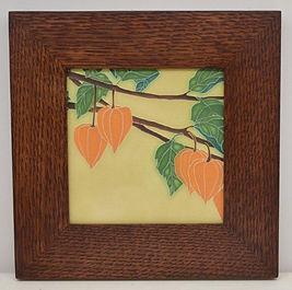 Motawi Japanese Lantern Tile in Mitered Oak Frame