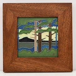 Motawi Pine Landscape Tile in Mitered Mahogany Frame