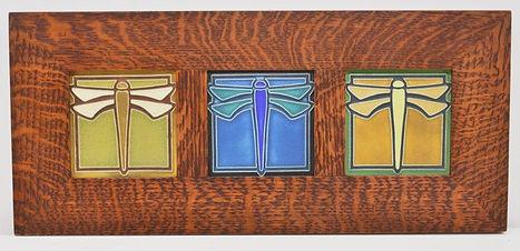 Framed Dragonfly Tiles in Mitered Oak Frame