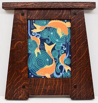 Motawi Koi Pond Tile in Craftsman Oak Frame